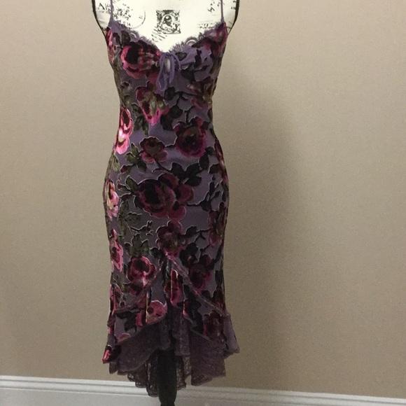 11a2b21c Betsey Johnson Dresses & Skirts - Betsey Johnson purple & pink velvet  burnout dress